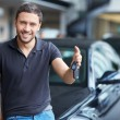 Man with car keys — Stock Photo