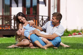 Playing on a lawn — Stock Photo