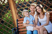 Smiing family — Stock Photo