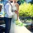 kissing newlyweds — Stock Photo