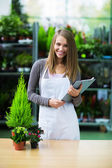 Smiling saleswoman — Stock Photo