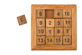 Puzzle with numbers on white — Stock Photo