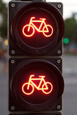 Red traffic light for bicycles — Stock Photo