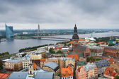 Riga center with Daugava river — Stock Photo