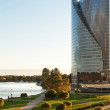 View of the modern house on the waterfront Riga — Stock Photo