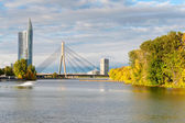 Cable stayed bridge across Daugava — Stock Photo