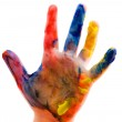 Childrens hand in the paint close up — Stock Photo #5853812