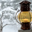 Vintage lantern against the winter garden — Stock Photo