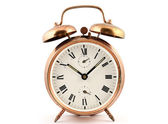 Old-fashioned vintage copper alarm clock — Photo