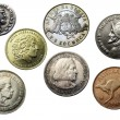 Seven coins of different times and countries  — Stock Photo