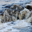Photo: Waterfall, foaming and splashing waves of river