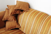 Striped brown sofa — Stock Photo