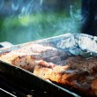 Meat is roasted on the grill — Stock Photo