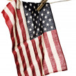 Stock Photo: Americflag on clothesline with wooden clothespins