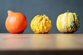 Three pumpkins in a row — 图库照片