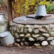 Rustic stone well, can and bucket — Stock Photo