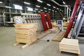 Making of wooden windows in the factory — Stock Photo