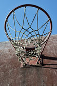 Closeup of basketball backboard and hoop outdoor — Stock Photo