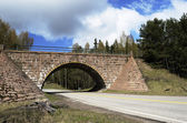 Stone viaduct over the road — Stock Photo