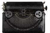 Vintage portable typewriter with Cyrillic letters on white — Stock Photo