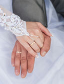 Hand of groom and bride — Stock Photo