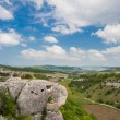 Mountains, sky and green fields in the Crimea — Stock Photo