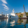 The military ship in naval bay of Sevastopol - Stock Photo