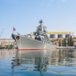 The military ship in naval bay of Sevastopol - Zdjęcie stockowe