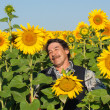Farmer standing in a sunflower field — Foto de Stock