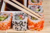 Different types of Sushi in a plate — Stock Photo