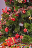 Christmas tree branch with a gift — Stok fotoğraf