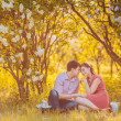 Portrait of young couple in park — Foto de Stock