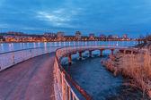 Evening shot of promenade on the river Kalmius — Stock Photo