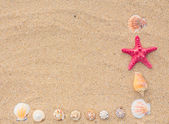 Sjöstjärnor och våg på stranden — Stockfoto