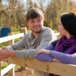 Portrait of a young couple in the countryside — Stock Photo #12656806