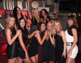 Girls company having fun in the night club — Stock Photo