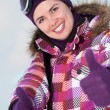 Smiling happy young woman outdoors in winter — Foto de Stock