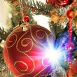 Decorated Xmas tree (shallow dof) — Stock Photo