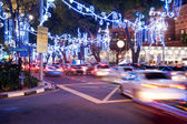 Orchard Road, Singapore. The street and buildings with lights — Stock Photo