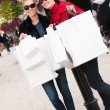 Happy smiling women shopping with white bags — Stock Photo #15840097