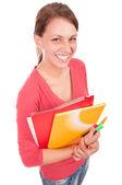 白に分離されたノートブックと若い幸せな学生の女の子 — ストック写真