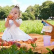 Adorable little girl on picnic in the beauty park — Stock Photo