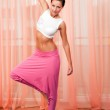 Portrait of pretty young woman doing yoga exercise — Stok fotoğraf #8191748