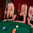 Group of happy girls playing in billiard — Stock Photo #8928079
