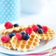 Belgian waffles with berry — Stock Photo