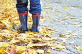 In rubber boots — Stock Photo