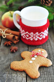 Gingerbread man cookie and milk — Stock Photo