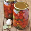 Canned cherry tomatoes — Stock Photo