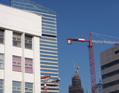 Crane tower on sky background — Stock Photo