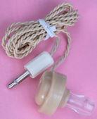 Plastic Headphones on Pink Backround — Stock Photo